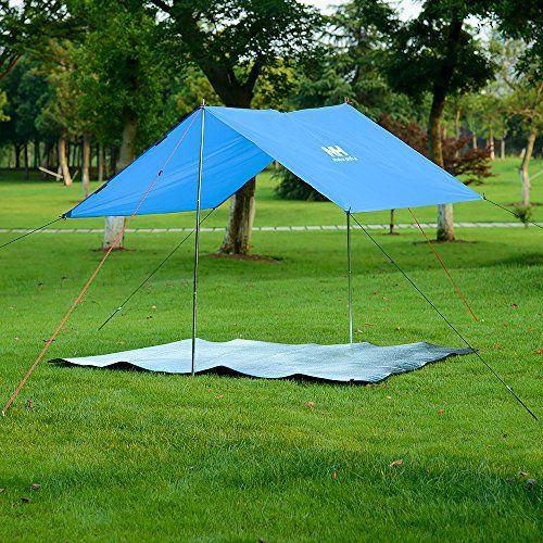 Hysenm Poncho Cape de Pluie Imperméable Étanche Bâche de Tente Bâche de Sol Multifonction Résistant Robuste Léger Compact Camping Randonnée…