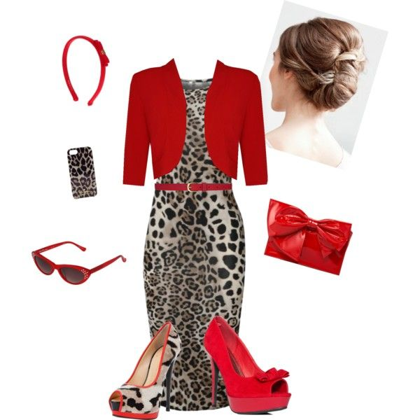 """""""Leopard & Red"""" by estes9011 on Polyvore. OMG SO ME!!!"""