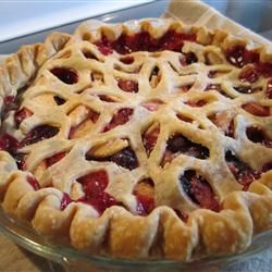 Bumbleberry Pie II  (made with apples, rhubarb, strawberries, blueberries, and raspberries)