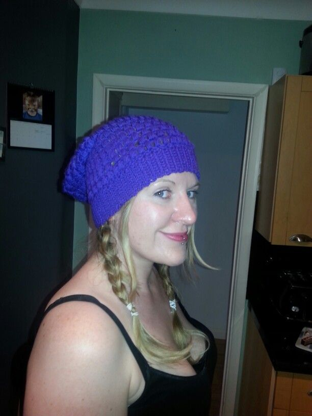 Purple puff stitch slouchy beanie :-)