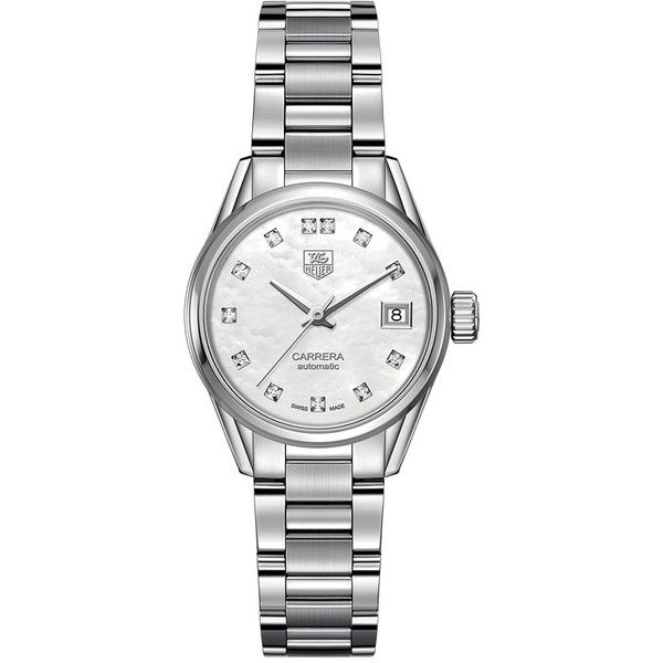 Tag Heuer Carrera Calibre 9 White Mother of Pearl Dial Watch ($2,900) ❤ liked on Polyvore featuring jewelry, watches, tag heuer watches, white wrist watch, tag heuer, white watches and white jewelry