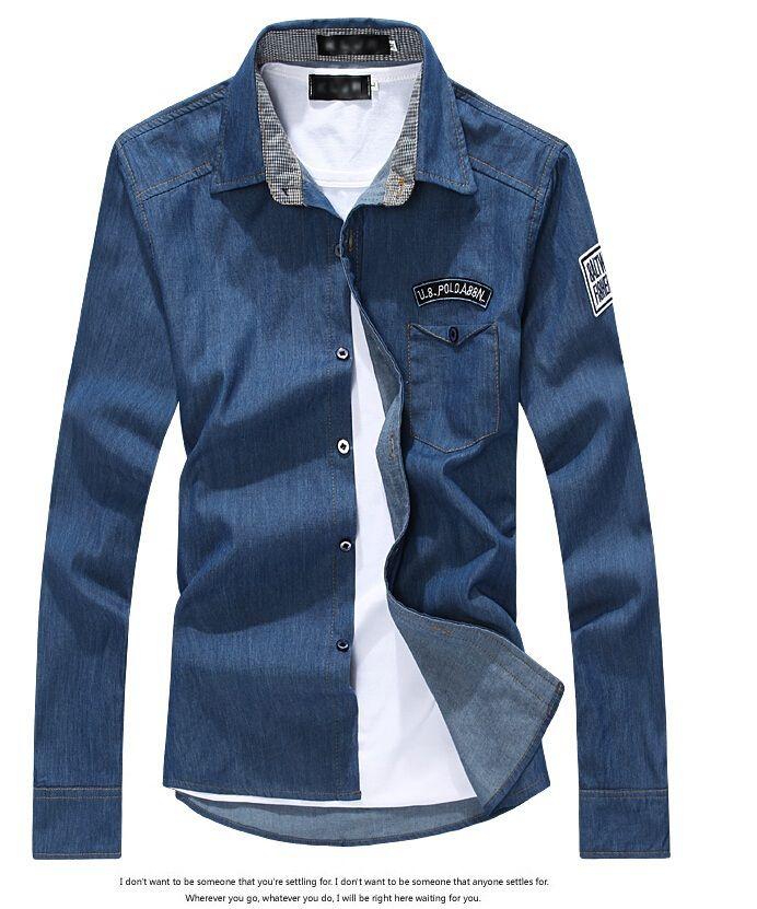 Горячие продаж нового прибытие 100% хлопок бренд мужской свободного покроя рубашки мода мужчины рубашка джинсы тонкий нужным полностью рукава джинсовые рубашки