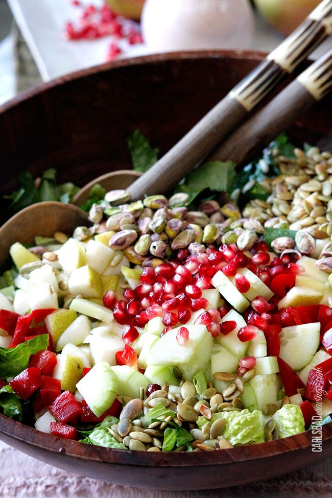 Pomegranate, Pear, Pistachio Salad with Creamy Pomegranate Dressing ...
