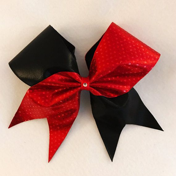Red and Black Tick Tock Cheer Bow by FromHeadtoBowsbyJenn on Etsy