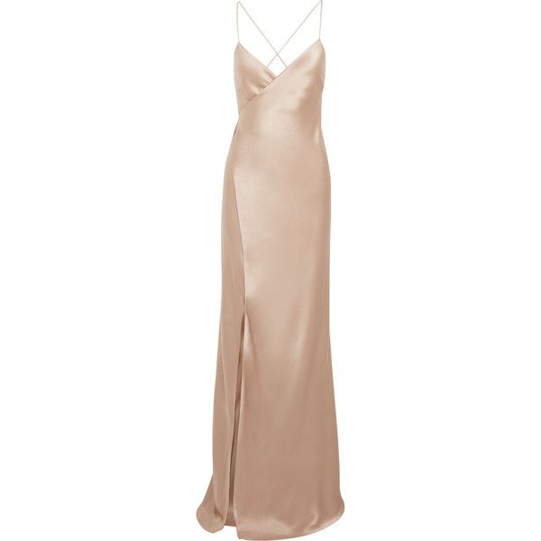 Michelle Mason Silk-satin wrap gown ($325) ❤ liked on Polyvore featuring dresses, gowns, beige dress, michelle mason, beige evening dress, evening wrap dress and beige gown