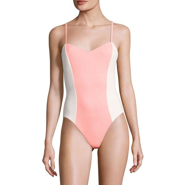 Solid & Striped Women's Diana One Piece Swimsuit - Size l ($79) ❤ liked on Polyvore featuring swimwear, one-piece swimsuits, multi, criss cross one piece swimsuit, striped one piece bathing suit, color block bathing suit, knit bathing suits and one piece bathing suits