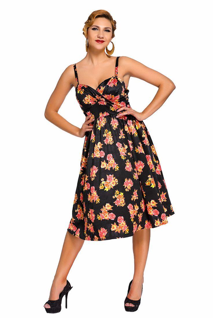 Black Pin-up Digital Floral Swing Vintage Dress