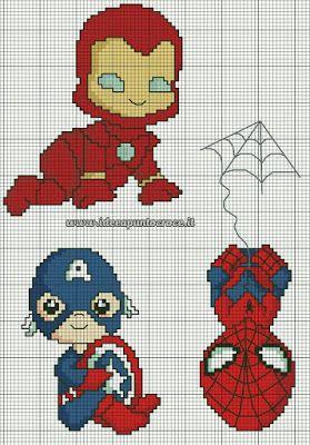 ♥Meus Gráficos De Ponto Cruz♥: Super-Heróis Vingadores Baby em Ponto Cruz