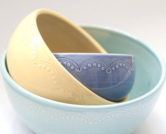 Set of 3  Nesting Bowls   Unmatchy by vesselsandwares on Etsy, $90.00