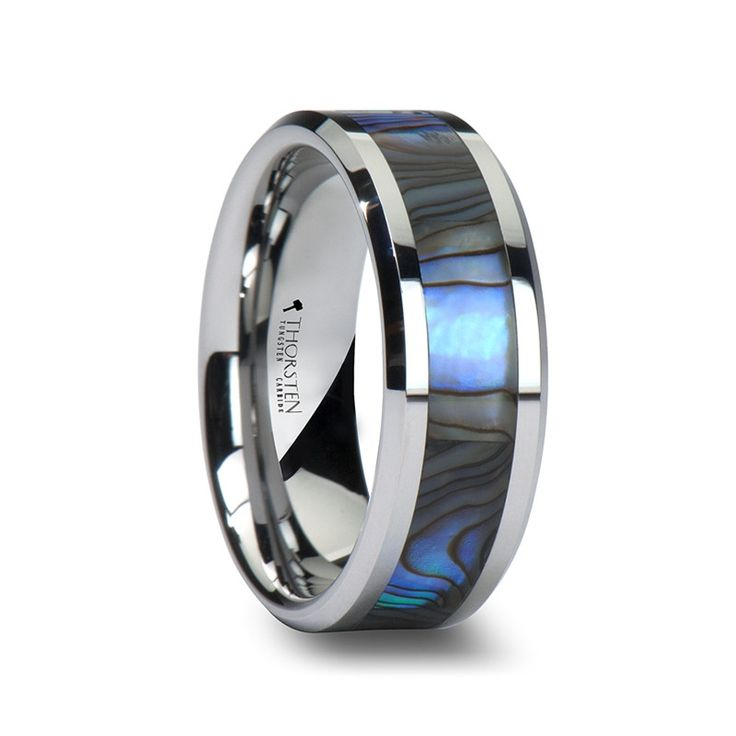 PACIFIC Men's Tungsten Wedding Band with Mother of Pearl Inlay from Wedding Bands HQ  #wedding #mybigday