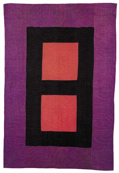 Amish quilt, 1900-1920, possibly made in Holmes County, Ohio, United States. An example of abstract expressionism. Amish patchwork is kept simple to avoid a prideful display on the part of the maker. Posted at ACC Fiber