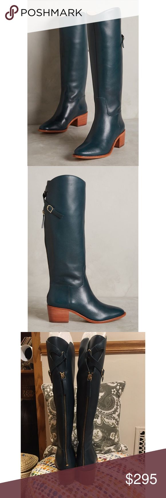 "🔥SALE🔥Anthropologie Candela Knee High Boots 🔥SALE🔥 NWOB. Structured leather and a just-high-enough stacked heel make these boots a wear-for-years essential. From Candela. Forest Green.   Fits true to size Back zip Leather upper, insole, sole Imported Dimensions  2"" stacked leather heel 15.5""H, 14"" circumference Anthropologie Shoes Heeled Boots"