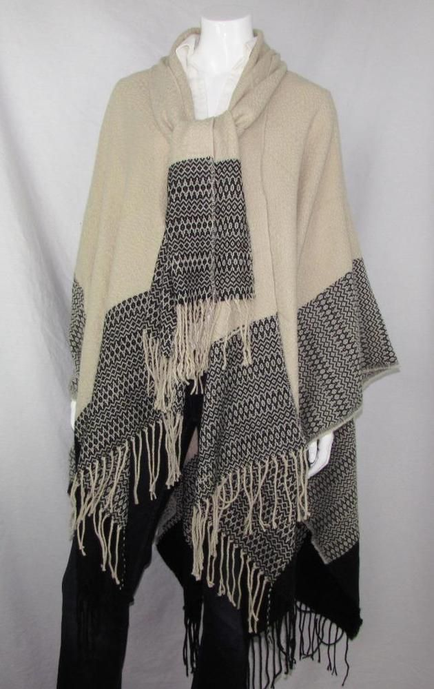 Women Fall Cape w/ Necktie Scarf Frilled Edges Wool Blend 1 Size Fits Most NWOT #Simi #Cape