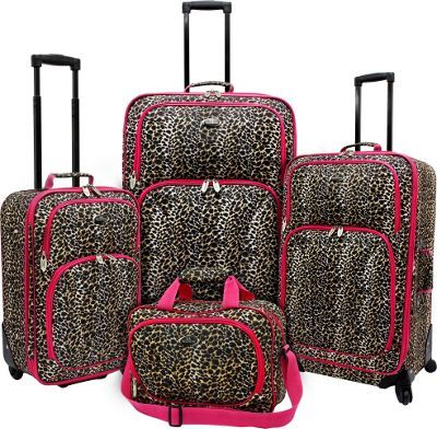 U.S. Traveler Fashion Leopard 4 Piece Spinner Luggage Set Leopard with Fuchsia Trim - via eBags.com!