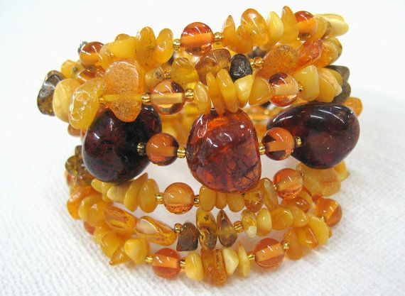 Natural Amber Bracelet memory wire bangle multistrand / by SanaGem Like the way it turned out!