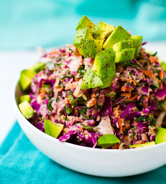 Rainbow Slaw with Sweet Tahini Dressing - Healthy. Happy. Life.: Sweet Tahini, Salad, Fun Recipes, Sweets, Tahini Dressing, Rainbowslaw, Food, Savory Recipes, Rainbow Slaw