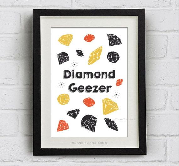 "Fun quotes Print ""Diamond Geezer""  Downloadable Art Print. Cute retro, pop art, cockney slang"