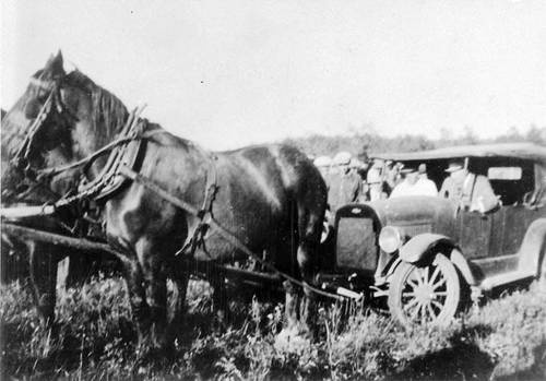 Mackenzie King drives a Bennett Buggy in Sturgeon Valley, Saskatchewan during the Great Depression. Named after Prime Minister R.B. Bennett, automobiles drawn by horses were used by farmers too poor to buy gas during the Great Depression in Canada.