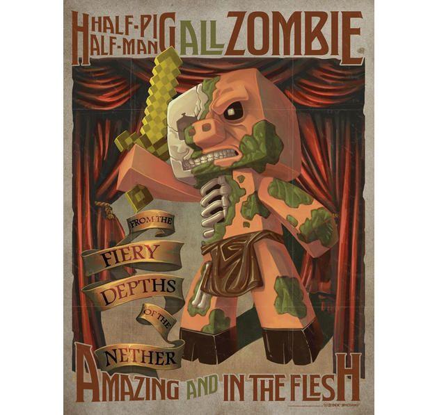 Minecraft Poster Half Pig