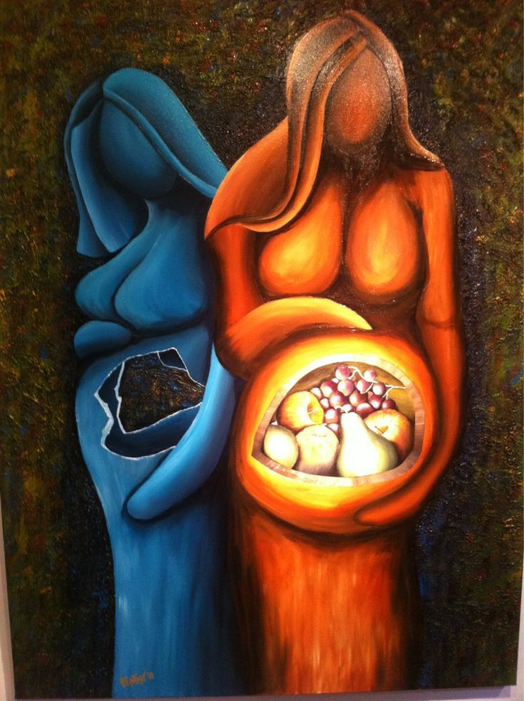 "Painting titled ""Endometriosis"" by artist Dr. Pedro Santiago."