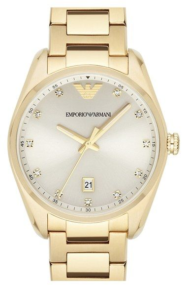 Emporio Armani Crystal Index Bracelet Watch, 36mm available at #Nordstrom