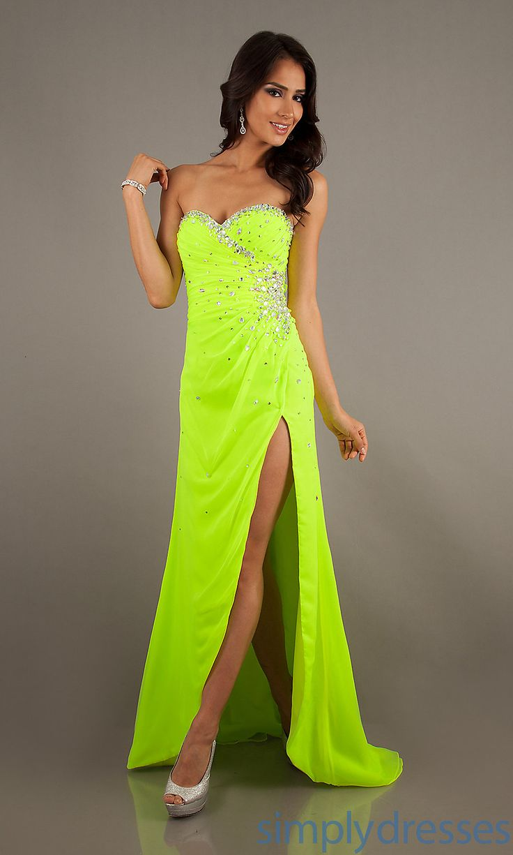 neon yellow prom dress | cute outfits | Pinterest | Neon ...
