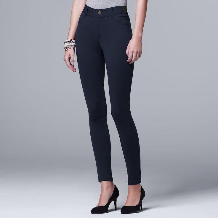 Petite Simply Vera Vera Wang Skinny Ponte Pants, Women's, Size: Pxl Short, Blue (Navy)