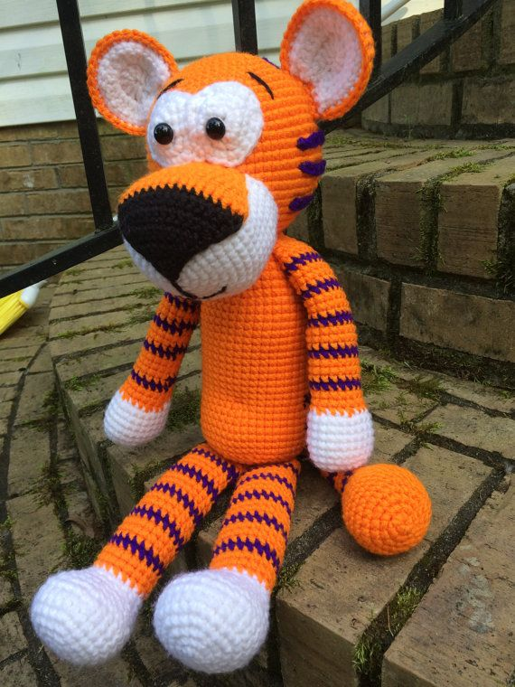 Hobbes tiger handmade crocheted tiger 12 inches height Hobbes stuffed tiger