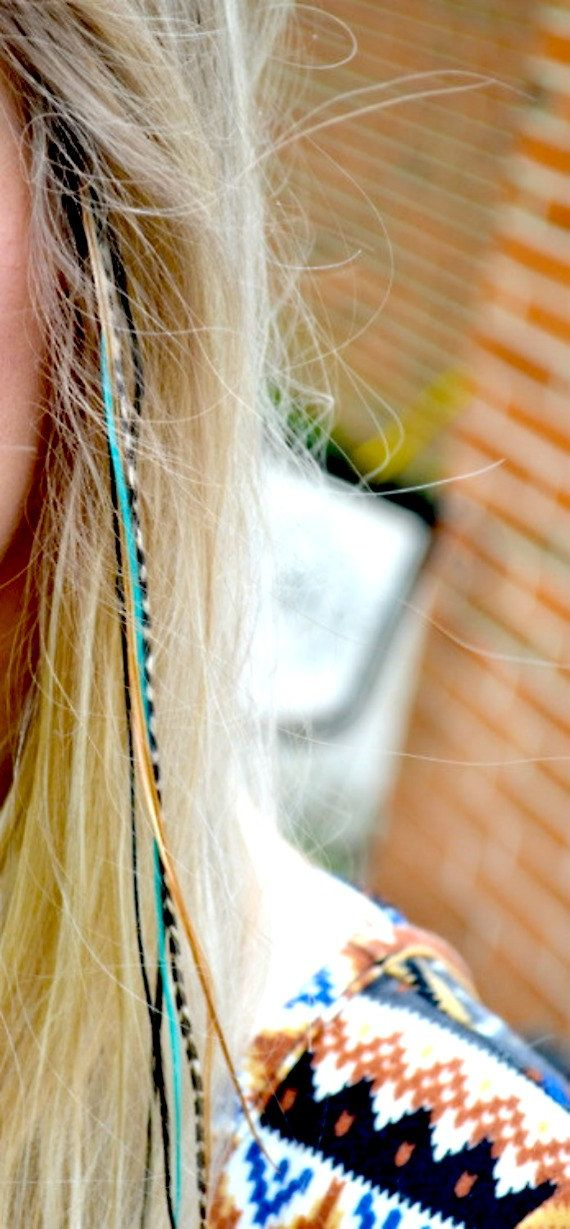 Hair Feather Extensions - Aqua Turquoise Earth Feather Blend Extra long rooster feather hair extension 6 bonded feathers kit with threader. $11.75, via Etsy.