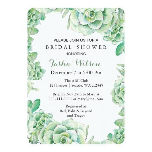 boho watercolor succulent Bridal Shower Invite