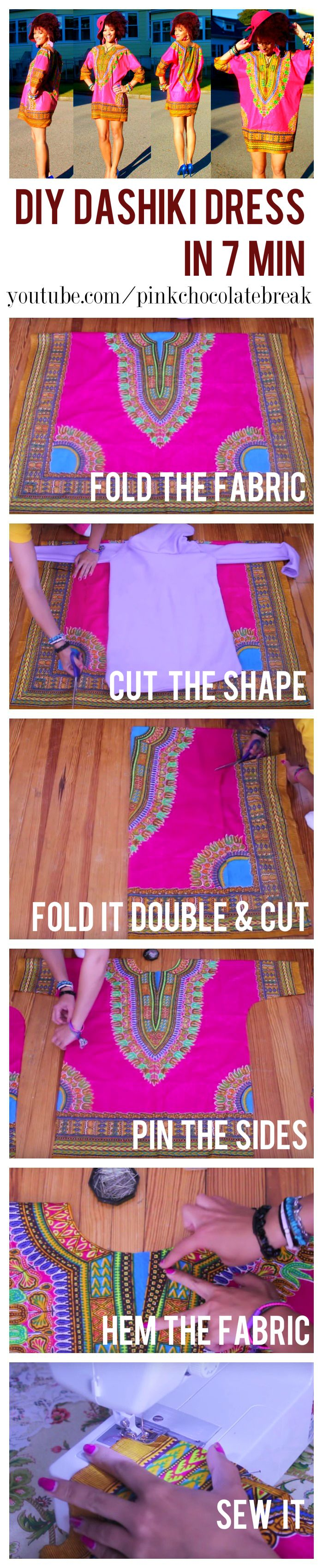 Learn how to make a DIY dashiki step by step in 7 min.  Watch the full tutorial here https://www.youtube.com/watch?v=HvXXwstgvNs #sewing #diyclothes #dashiki