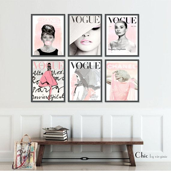 Fashion Wall Art Set Prints Vogue Posters Chanel Prints Fashion Wall Art Audrey Hepburn Wall Art Wall Art Sets