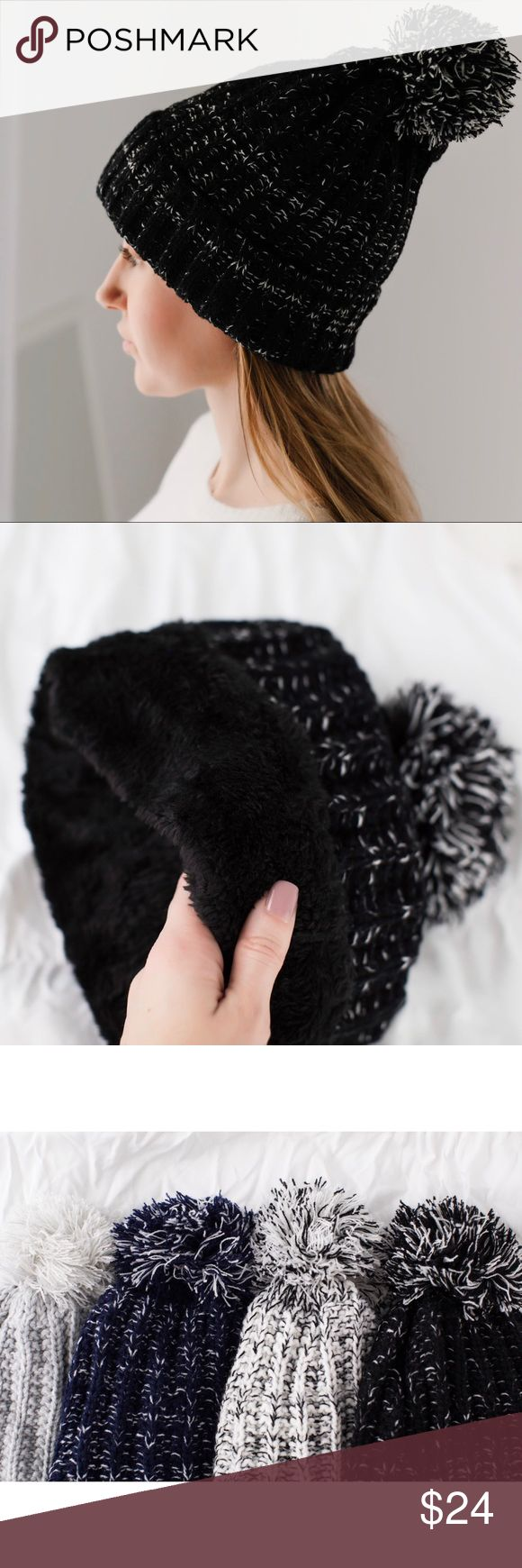 🆕High Line Plush Lined Hat 🌟Buyer favorite🌟 I am happy to bring back my plush lined hats this winter in new colors!  Marled black/white knit, the interior has black furry plush lining which is INCREDIBLE! So soft & warm. Acrylic material, cozy and not itchy. Once you wear this, no other hat will suffice when it starts to snow ☃️Also in navy, white, gray.   ▫️Price is firm 📷 Photos are my own 11thstreet Accessories Hats
