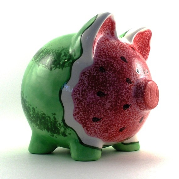 Personalized Piggy Bank  Watermelon  with hole or NO by ThePigPen, $45.50