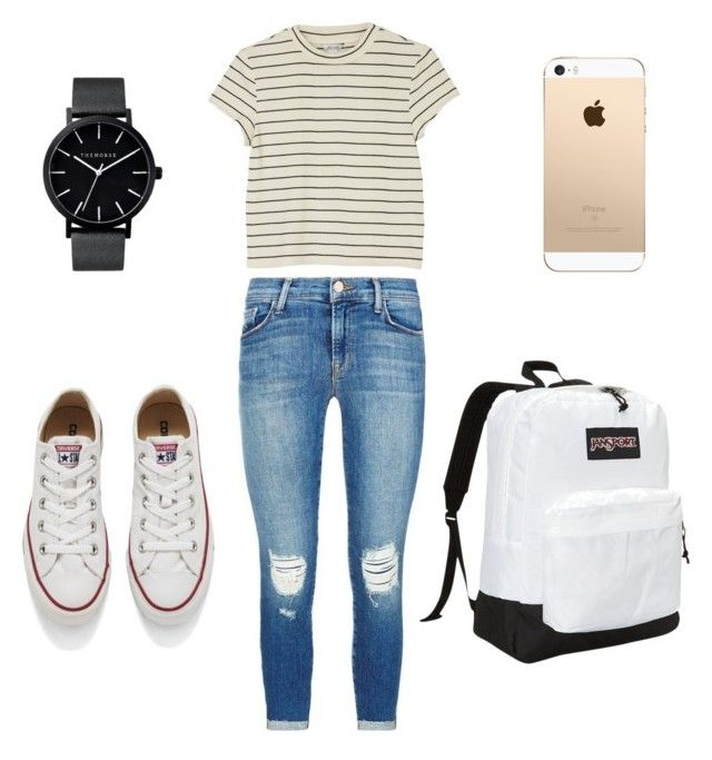 """""""How to wear converse"""" by karlamichell on Polyvore featuring J Brand, Monki, Converse, JanSport and The Horse"""