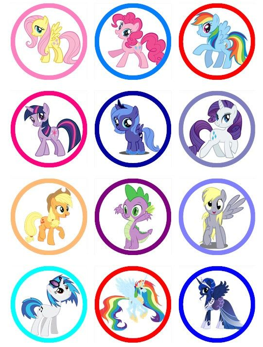 MY LITTLE PONY Edible Image Cupcake Toppers Birthday cupcakes or any dessert Más
