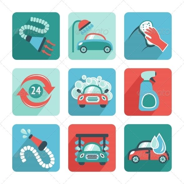 Car Wash Icons Flat by macrovector Car wash flat auto cleaner washer shower service isolated icons vector illustration.Editable EPS and Render in JPG format