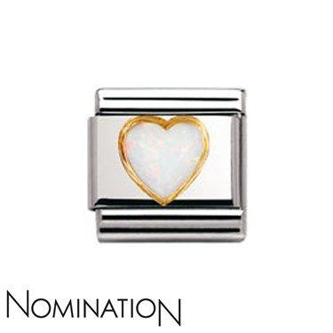 Nomination White Opal Heart Charm   Argento.co.uk