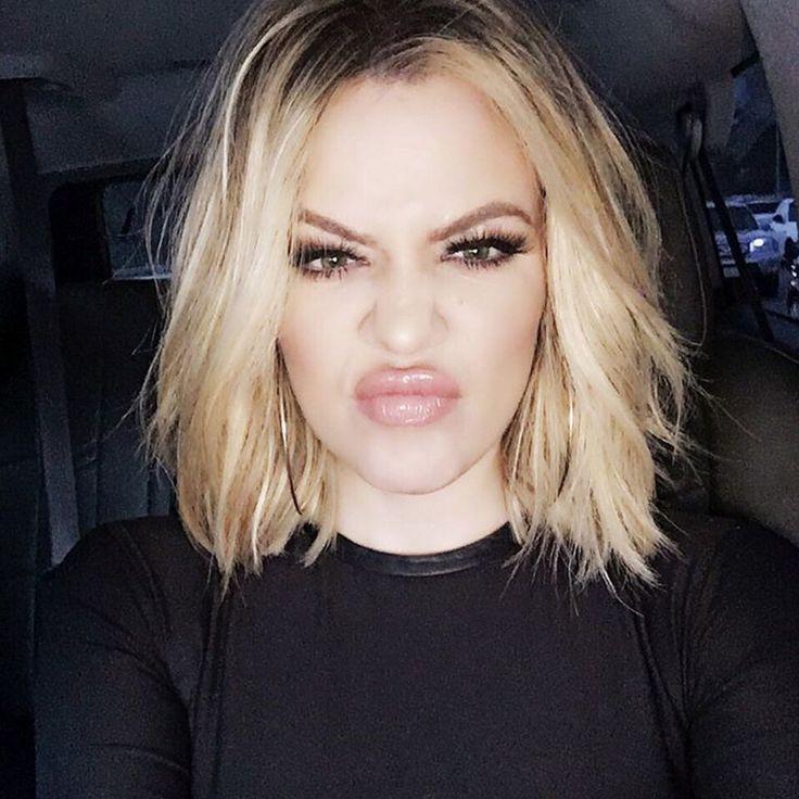 khloe kardashian, hair, lob, blonde, bob, wavy, short hair