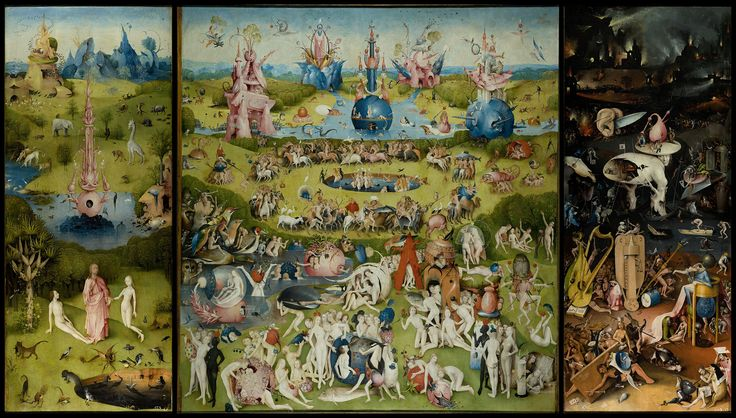 Hieronymus Bosch, The Garden of Earthly Delights, oil on oak panels, 220 x 389 cm, Museo del Prado, Madrid