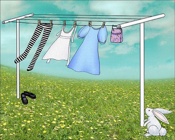 wonderland wash - signed digital illustration art print 8X10 inches by Sarah Knight, laundry aqua blue green white bunny on Etsy, $18.00