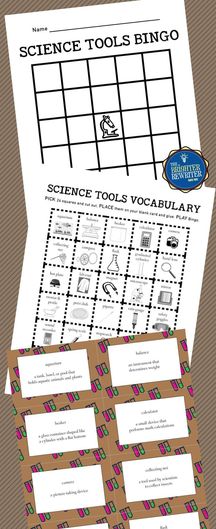 Create-your-own-bingo-card game reviews 30 science lab equipment tools.