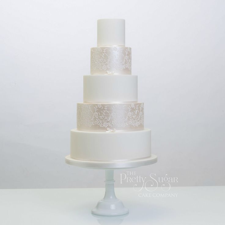 White and champagne lustre with delicate vintage lace detail