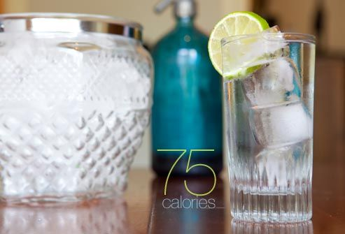 Slim the Gin and Tonic: 75 Calories    Did you know that tonic water has nearly as many calories as soda? Switch to diet tonic water for a skinny version of this favorite cocktail. Bubbly seltzer water is another option that can shave calories -- although it's really a different drink without the bitter nip of quinine in the tonic water. In that case, punch up the flavor with a squeeze of lime juice or a flavored seltzer.