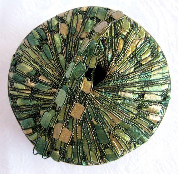 Berlini Ladder Ribbon Maxi yarn #43 - Brilliant herbs, shades of green and gold Ladder ribbon yarns (also called trellis yarns or ladder yarns) are