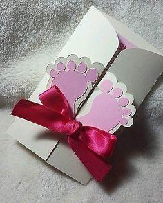 10 tarjetas de invitación ducha bebé para niño o Niña Personalizado con diseño de pies