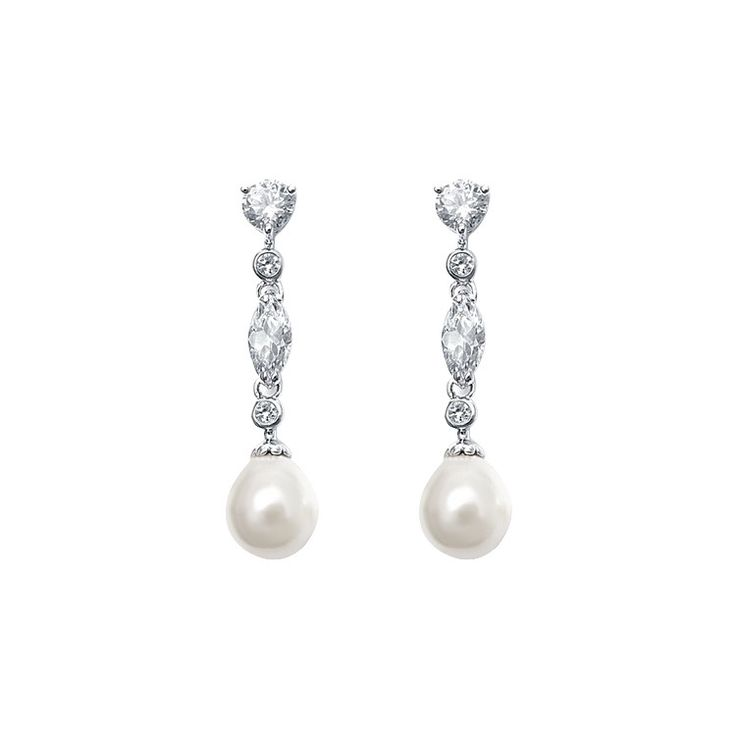 The Esther Bridal Earrings are simply stunning, set in rhodium plating and featuring cubic zirconia stones id a variety of shapes, finished with a beautiful lig