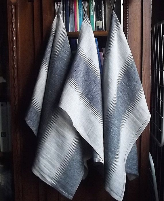 Striped Softened and Stonewashed Linen Tea Towels. Set of 3.