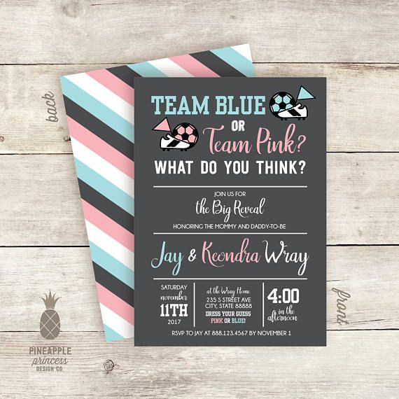 Soccer Theme Gender Reveal Invitations Team Pink Or Team Gender Reveal Invitations Gender Reveal Party Baby Gender Reveal