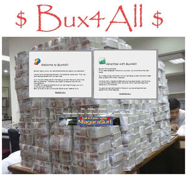 A new website has been submitted to Profit-List.com:  Category: Paid to Click, Website / Blog Name: Bux4All, Link: http://bux4all.e2auction.com/, Description: Welcome to Bux4All! Bux4All pays you to view advertisements provided by our sponsors.
